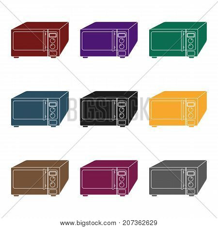 Microwave icon in black style isolated on white background. Kitchen symbol vector illustration.