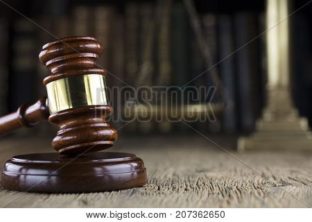 Legal office. Law firm. Gavel and books.