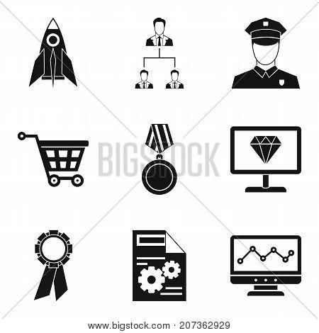 Startup development icons set. Simple set of 9 startup development vector icons for web isolated on white background