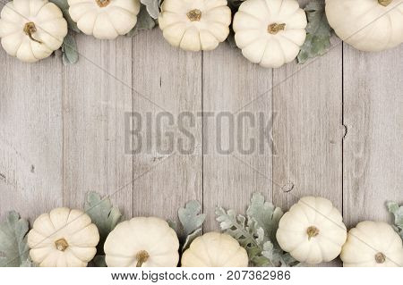 Autumn Double Border Of White Pumpkins And Silver Leaves Over A Rustic Light Gray Wood Background