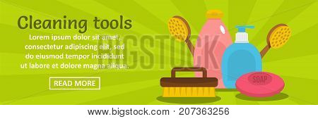 Cleaning tools banner horizontal concept. Flat illustration of cleaning tools banner horizontal vector concept for web design