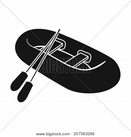 Orange rubber lifeboat.The boat, which weighs on the sides of large boats for the rescue.Ship and water transport single icon in black style vector symbol stock web illustration.