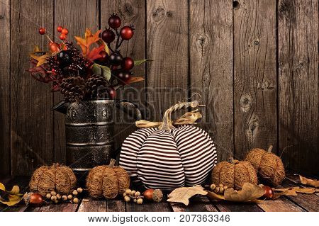 Shabby Chic Pumpkins And Autumn Home Decor With Rustic Wood Background