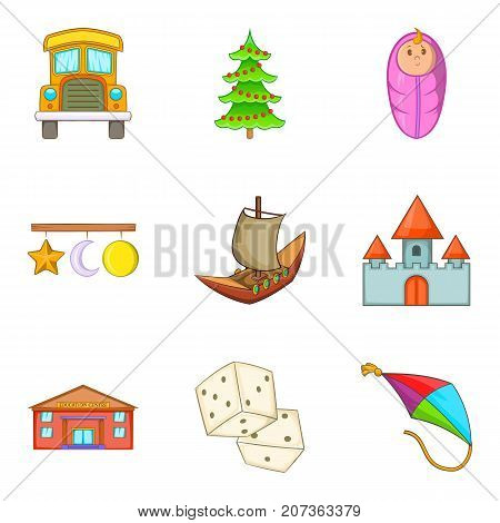 Happy childhood icons set. Cartoon set of 9 happy childhood vector icons for web isolated on white background
