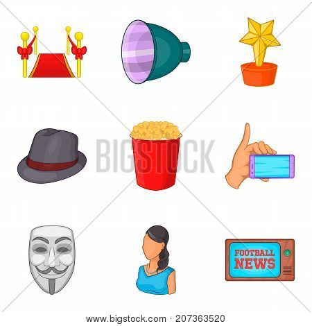 News show icons set. Cartoon set of 9 news show vector icons for web isolated on white background