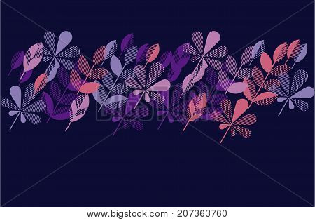 autumn leaf fall geometry modern motif in bright vivid color. vector illustration for surface design. violet night chic color header template with leaves.