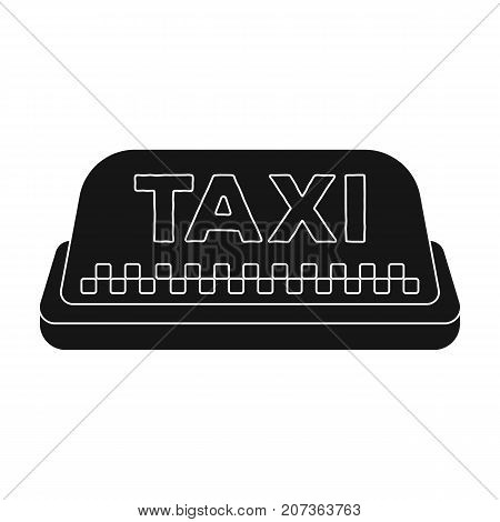 Yellow checker taxi with logo.Equipment taxi station for identification car. Taxi station single icon in black style vector symbol stock web illustration.