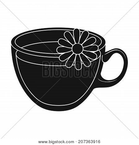 Glass mug with tea useful.Vegetarian therapeutic chamomile tea.Vegetarian Dishes single icon in black style vector symbol stock web illustration.