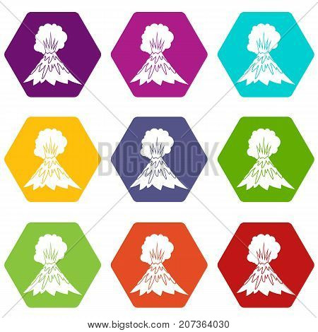 Volcano erupting icon set many color hexahedron isolated on white vector illustration