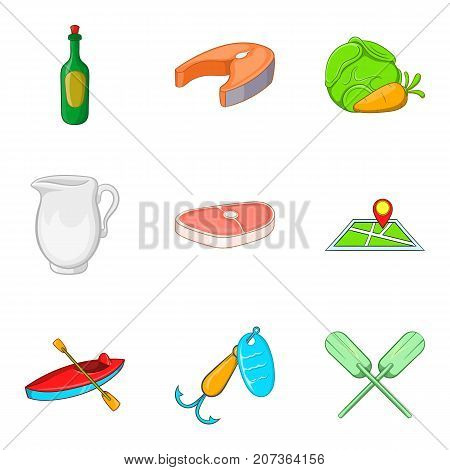 Barbecue party icons set. Cartoon set of 9 barbecue party vector icons for web isolated on white background