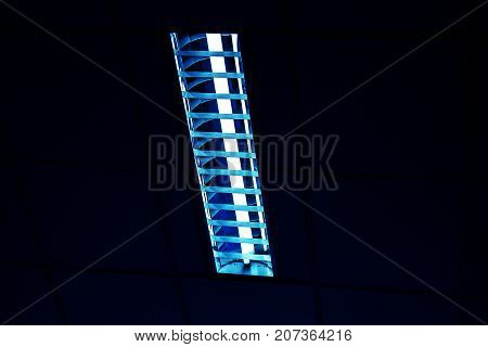 White light from Fluorescent light tube on the wall or Neon tube light.Copy space background for usage and any design.