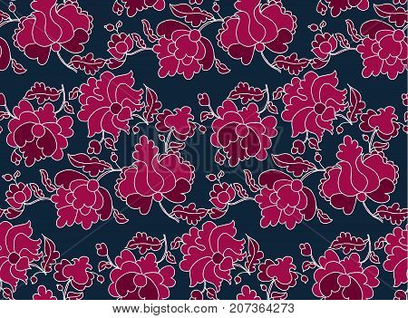 Ukraine traditional peasant seamless pattern. folk style floral vector illustration. traditional european Ukrainian ornament. western europe rustic flower motif for fabric, wrapping paper, background