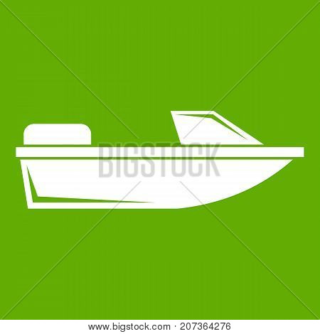 Sports powerboat icon white isolated on green background. Vector illustration