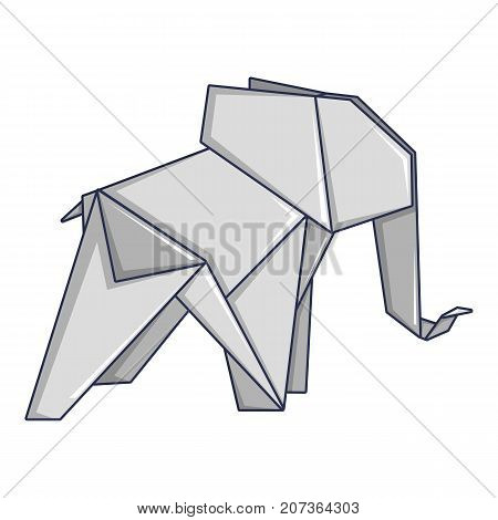 Origami elephant icon. Cartoon illustration of origami elephant vector icon for web