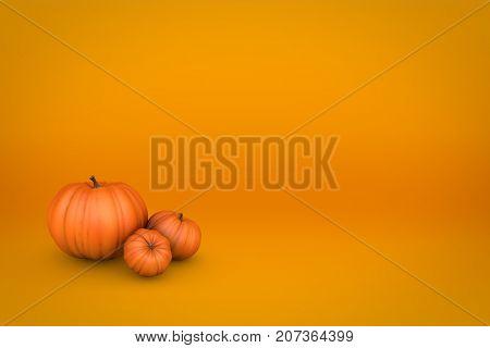 Orange pumpkin fall seasonal background. 3D illustration.