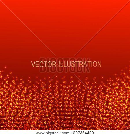 Red illustration with particles at the edges. Virtual abstract background with particle structure.