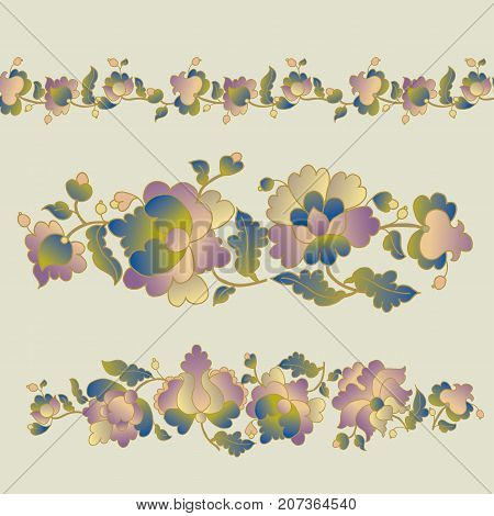 traditional european Ukrainian ornament. rustic floral composition. rural folk style flower element.  western europe folk motif