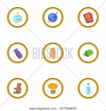 Camp of refugee icons set. Cartoon style set of 9 camp of refugee vector icons for web design
