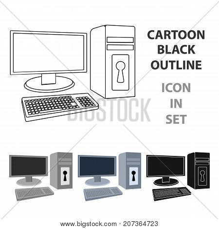 Locked computer icon in cartoon design isolated on white background. Hackers and hacking symbol stock vector illustration.