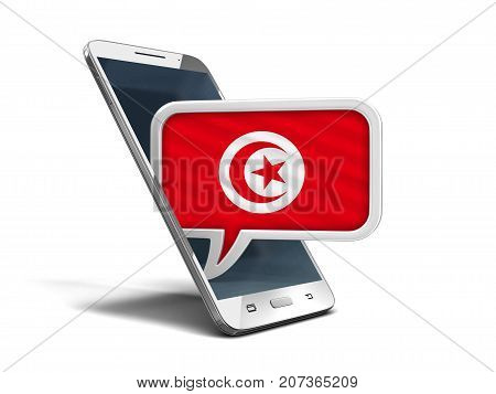 3d Illustration. Touchscreen smartphone and Speech bubble with Tunisian flag. Image with clipping path