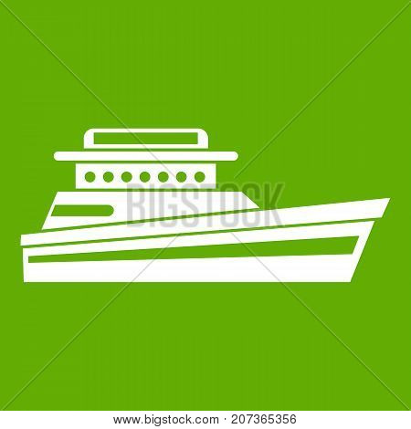 Great powerboat icon white isolated on green background. Vector illustration