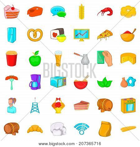 Cook icons set. Cartoon style of 36 cook vector icons for web isolated on white background