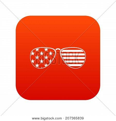American glasses icon digital red for any design isolated on white vector illustration