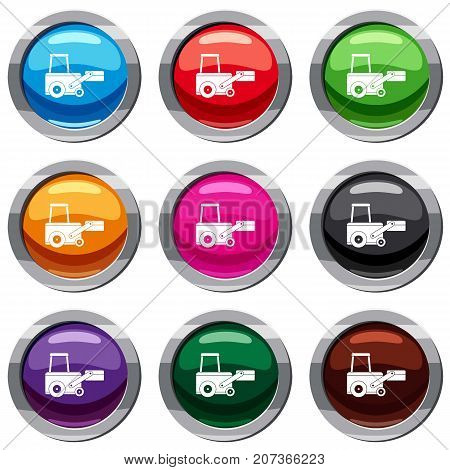 Truck to lift cargo set icon isolated on white. 9 icon collection vector illustration