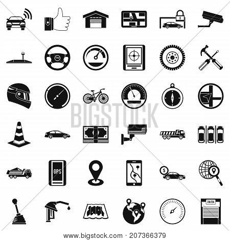 Automotive icons set. Simple style of 36 automotive vector icons for web isolated on white background