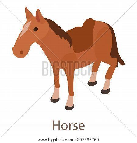 Horse icon. Isometric illustration of horse icon for web