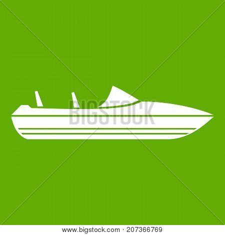Little powerboat icon white isolated on green background. Vector illustration