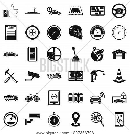Gate icons set. Simple style of 36 gate vector icons for web isolated on white background