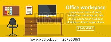 Office workspace banner horizontal concept. Flat illustration of office workspace banner horizontal vector concept for web design
