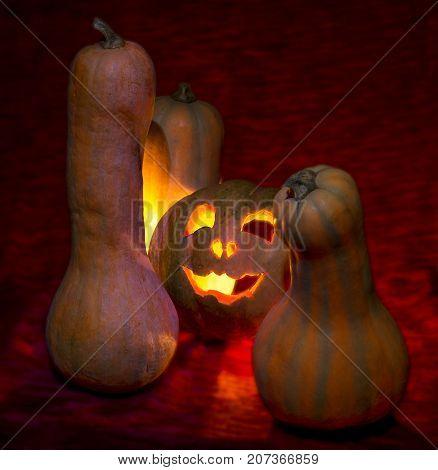 halloween evil pumpkin candles gloom on red