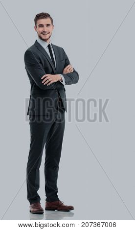 Full body of young handsome business man isolated on white backg