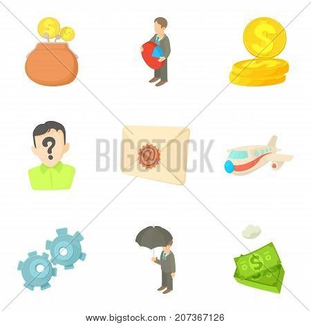 Money transfer icons set. Cartoon set of 9 money transfer vector icons for web isolated on white background