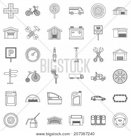 Garage icons set. Outline style of 36 garage vector icons for web isolated on white background