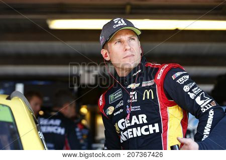 September 29, 2017 - Dover, Delaware, USA: Jamie McMurray (1) hangs out in the garage during practice for the Apache Warrior 400 at Dover International Speedway in Dover, Delaware.