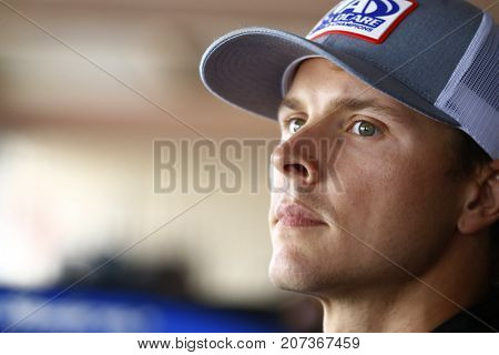 September 30, 2017 - Dover, Delaware, USA: Trevor Bayne (6) hangs out in the garage during practice for the Apache Warrior 400 at Dover International Speedway in Dover, Delaware.