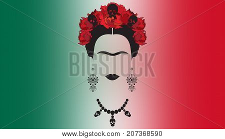 Frida Kahlo , portrait of Mexican or Spanish woman with skull necklace and red flowers , Mexican crafts earrings, rendering  illustration and Mexican background flag