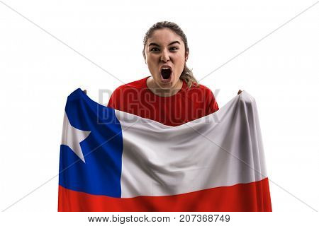 Chilean female fan holding the national flag isolated