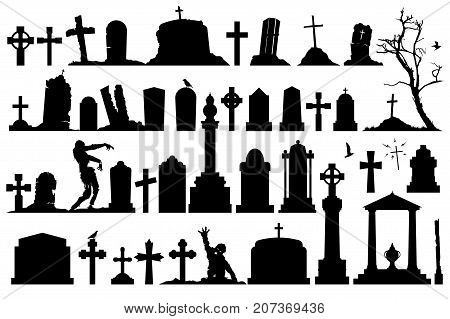 Gravestones and tombstones cemetery set. Vector creepy cemetery.