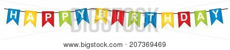 Vector bunting with Happy Birthday words. Vector Happy Birthday flags. Happy Birthday vector illustration