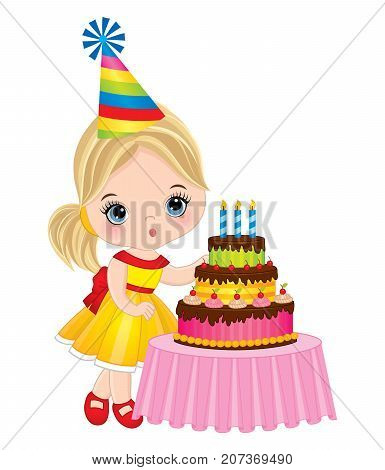 Vector cute little girl blowing out candles on birthday cake. Vector birthday party. Little girl with birthday cake vector illustration