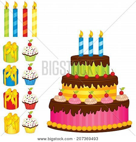 Vector birthday cake, candles, cupcakes and gift boxes. Vector birthday cake and cupcakes. Cake vector illustration