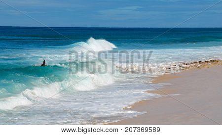 Boogie Board Rider, surfing waves on blue sea at white sandy beach on Island of Ohau, Hawaii
