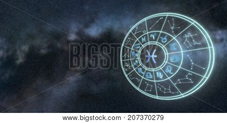 Light Symbols Of Zodiac And Horoscope Circle, Pisces Zodiac Sign