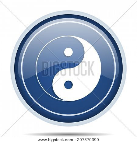 Ying yang blue round web icon. Circle isolated internet button for webdesign and smartphone applications.