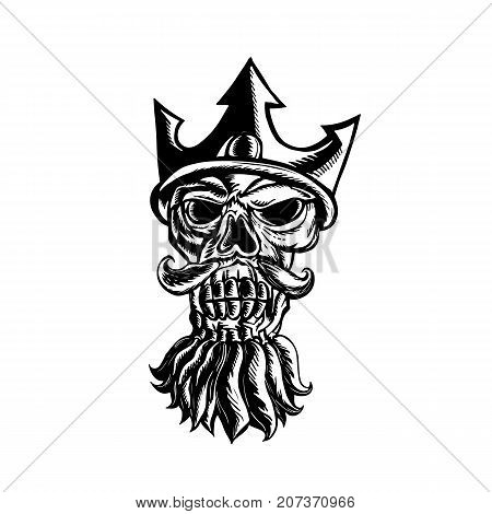 Scratchboard style illustration of Skull of Neptune wearing a trident crown viewed from front done on scraperboard on isolated background.