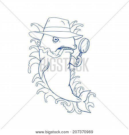 Caricature drawing cartoon style illustration of a Detective Orca Killer Whale holding a magnifying glass wearing a fedora hat and smoking cigar with waves on isolated background.